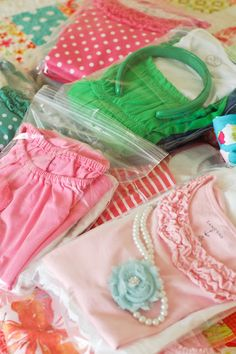 Travelling with young kids made easy: Put an entire outfit (including undies and hair accessories) in a ziploc bag. One bag per day. When you get to the hotel, put the bags in a drawer and they can pick one per day