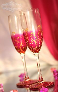 """Купить Бокалы """"Magic Dreams""""(Волшебные Сны). Роспись - свадебные бокалы, бокалы для свадьбы, бокалы для молодоженов"""