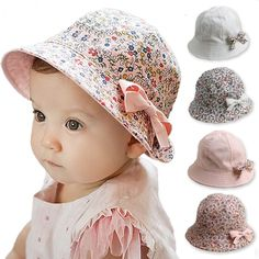 938cb20d089c 2016 New Dual sided Baby Hat with Removable Bow Print Kids Bucket Hats Soft Sun  Hat Summer Cotton Cute Palace Caps Girls Visors-in Hats   Caps from Mother  ...