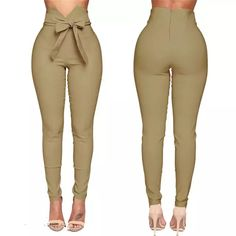 Trousers Women High Waist Casual Pants Fashion Ladies Bowknot Long Slim Skinny Pant Bandage Elastic Pencil Trousers With Sashes – My Brand Fashion Pants, Look Fashion, Fashion Outfits, Fashion Women, Harajuku Fashion, Fashion Fall, Trousers Women, Pants For Women, Clothes For Women