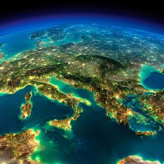 Europe from space at night: highly detailed Earth illuminated by moonlight.