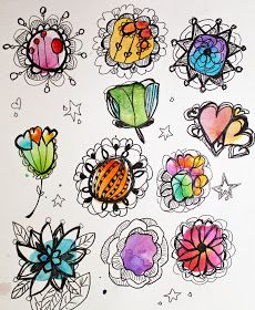 Marcia Beckett: Art Journaling and Mixed Media: Watercolor Flowers with Ink