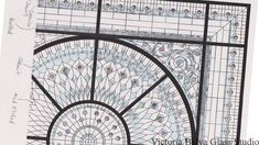 Finished sketch of the leaded glass dome skylight with marked glass selection