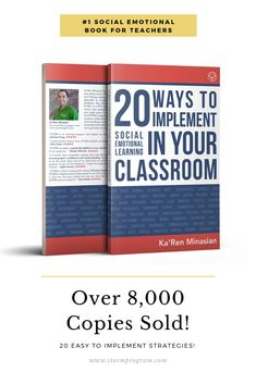 20 ways to implement social emotional learning in your classroom is written by an educational coach and 5 time black belt master trainer Ka'ren Minasian. You will gain practical strategies for teaching social-emotional learning (SEL) in your classroom, and help your students maintain positive relationships, be more responsible, self aware, respectful and contributing citizens of society. You'll find easy to follow lessons and activities that will give you the tools to positively transform… Social Skills Activities, Teaching Social Skills, Social Emotional Development, Social Emotional Learning, Emotional Books, Responsive Classroom, Learning Websites, Teacher Books, Character Education
