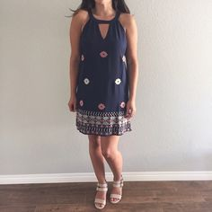 """Embroidered Dress Brand new with tag. Embroidered detail. Back neck closure, v neck bust and inner lining. Bust:20"""" across. Waist:20"""" across. Length:36""""                                                                   15% OFF Bundles of 2+ items Find me on Instagram @see.seasew Dresses"""