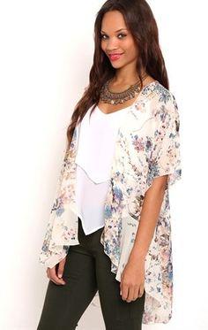 Deb Shops Short Sleeve Watercolor Floral Print Chiffon Kimono $15.75