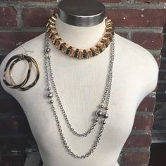 3 Assorted Pieces Of Jewelry Silver & Gold Vintage Coro Silver Disco Ball Long Chain Necklace 60 inch. Gold hoops and Choker Necklace Forever 21. Hoops 3 in, choker 14 in . Message me for other details ✌️☺️ Coro Jewelry