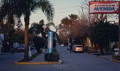 Avenida San Martín, vestida de celeste y blanco,en conmemoración del día de la bandera
