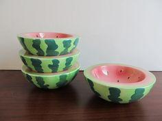 Watermelon Bowls - Holt Howard - Set of 4 - Mid Century, Kitsch, Retro, Ice Cream, Dessert Bowl, Summer Serving