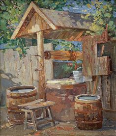 Wells, Russian Painting, Purple Bags, Wishing Well, Le Moulin, Old Houses, Fountain, Canvas Art, Around The Worlds
