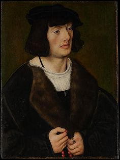 """AD 1508-9 German """"Portrait of a Man with a Rosary"""" by Lucas Cranach the Elder, oil on wood"""