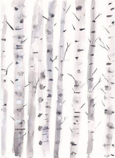Birch Trees - Original Watercolor Painting