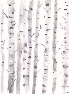 Original Art - Birch Trees - Original Watercolor Painting - ART PAINTING WATERCOLOR. $29.36, via Etsy.