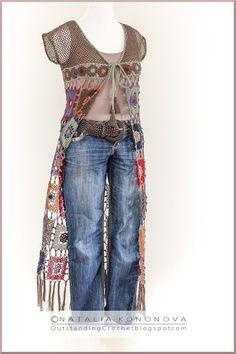 Outstanding Crochet: New crochet project Long Vest with Fringe.