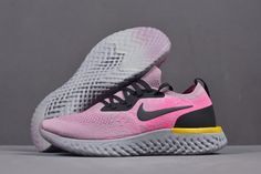 online store 3f724 f3a83 Women s Nike Epic React Flyknit Pink Yellow Black Grey Running Shoes  AQ0070-500