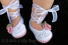 Crocheted Ballet Baby Booties in White and Dusty by LittleLillyBug, $18.00. Made in Ontario Canada