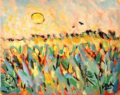 Sun+Painting+with+cornfields+by+Russ+Potak+by+RussPotak+on+Etsy,+$179.00