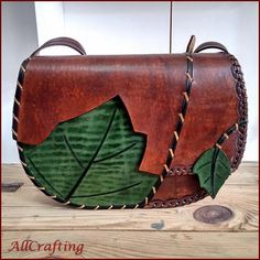 <Brown Leather Bag for Women Green Leaf Design Large Natural Leather Bag Eye-catching Whipstitch Detail Brown Leather Shoulder Leather Bag Handmade Women Accessory Best Quality Genuine Leather Handcraft Unique Brown Leathe Handmade Handbags, Leather Bags Handmade, Brown Leather Handbags, Leather Purses, Leather Totes, Leather Clutch, Leather Case, Brown Crossbody Bag, Girls Bags