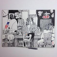 Jonathan Twingley.  Dirty Frank's #twingley #jontwingley #sketch #sketchbook #sketchbookdrawing #drawingonlocationfrommemory #dirtyfranks #bar #divebar #art #artgallery #drawing #illustration #philadelphia #ink #penandink #moleskine #moleskineart #drawingonlocation