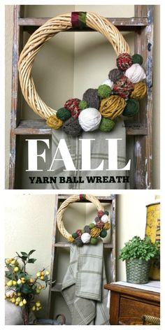 GOT YARN? Use it up in the Thrifted DIY Fall Yarn Ball Wreath. It is perfect for any holidya or just for your front door and it's. Diy Home Crafts, Diy Craft Projects, Yarn Crafts, Crafts For Kids, Metal Projects, Diy Fall Wreath, Fall Diy, Wreath Ideas, Modern Fall Decor