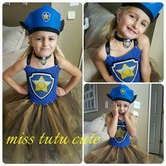 Chase paw patrol tutu dress dress headpiece and by MissTutuCute2