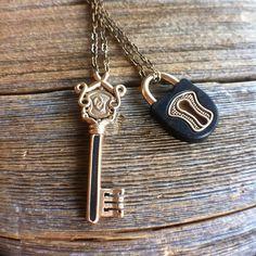 Our Lock & Key Pendants in Bronze with Ebony. #omericaorganic #woodjewelry #madeindenver