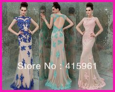 2014 New Fashion Blue Pink Backless Lace Mermaid Formal Long Evening Dresses Gowns E5195
