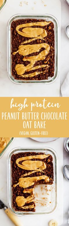 Peanut Butter Chocolate Oat Bake