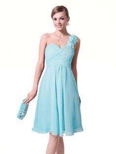 One shoulder light blue prom dresses under 30 dollars for bridesmaids junior prom party