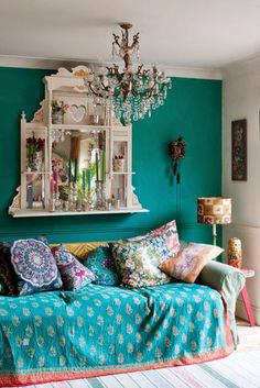 Bohemian bliss, in turquoise, teal, and gorgeous prints