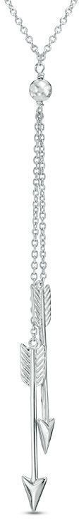 Zales Double Arrow Lariat Necklace in Sterling Silver
