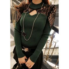 Stylish Round Neck Long Sleeve Spliced Hollow Out Women's Sweater