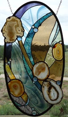 Stained Glass Window Panel HARMONIOUS by ZuniMountainArtGlass
