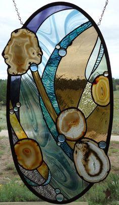 Stained Glass Window Panel HARMONIOUS by ZuniMountainArtGlass