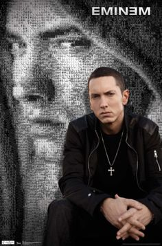 Eminem posters: Eminem poster featuring Eminem dressed in black and wearing a cross. In this poster Eminem is pictured in front of an Eminem mosaic. Hip Hop Artists, Music Artists, Eminem Poster, Eminem Rap, Eminem Music, The Real Slim Shady, Eminem Slim Shady, We Will Rock You, Rap God