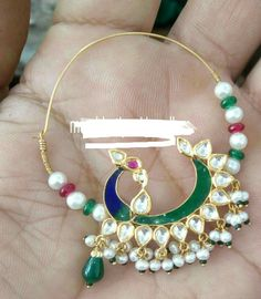 Rajputi jewellery beautiful nath by Kuldeep Singh Wedding Jewellery Designs, Gold Jewellery Design, Wedding Jewelry, Bridal Jewellery, Royal Jewelry, India Jewelry, Temple Jewellery, Nose Ring Stud, Nose Rings