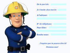 carte invitation Sam le pompier