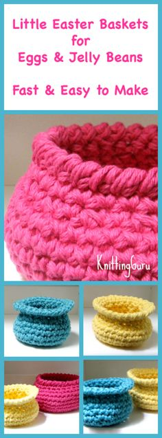 3 Easter Baskets Crochet Pattern for Easter Eggs and Jelly Beans - Fast and Really Easty!