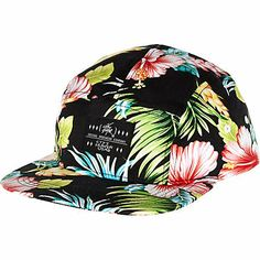 Black Hawaiian print flat peak cap #riverisland #rimenswear