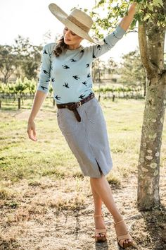 Lightweight Bird Print Sweater from the Aussie Afternoon Collection by Shabby Apple
