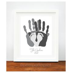 Personalized Family Portrait Charcoal Gray - Gift for New Dad - First Father's Day Gift - Baby Footprint Hand Print Art - Unique Family Art. $55.00, via Etsy.