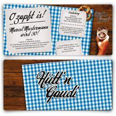 Jetzt Kreative Einladungskarten Im Hüttu0027n Gaudi U0026 Oktoberfest Design In Rot  Mit Eigenem Foto Und Text Zum Geburtstag Online Bestellen!