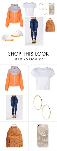 """""""sky coat"""" by skymaire on Polyvore featuring NIKE, RE/DONE, Retrò, GUESS by Marciano, MCM and Rifle Paper Co"""