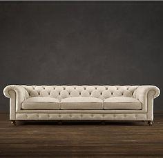 Kensington Upholstered sofa from Restoration Hardware. Velvet Tufted Sofa, Upholstered Sofa, Restoration Hardware, Sofa Drawing, Cozy Sofa, Sofa Styling, Dining Room Inspiration, Living Room Sofa, Living Rooms