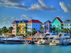 Paradise Island, Bahamas - Incredible splash of color. Not just Paradise Island, the houses in The Bahamas are also painted these vibrant colors! Hot pink, blur and yellow houses everywhere Wonderful Places, Great Places, Beautiful Places, Oh The Places You'll Go, Places To Travel, Places To Visit, Romantic Destinations, Honeymoon Destinations, Honeymoon Trip