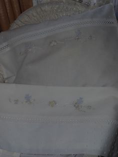 Hand Embroidered White Cotton Voile Baby Bassinet Sheet & Pillowslip Set