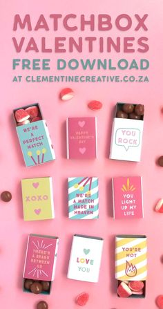 Free Printable Valentine's Day Matchbox Covers – … – Diy Gifts For Friends Diy Gifts For Him, Diy Gifts For Friends, Friend Crafts, Cadeau Surprise, Surprise Box, Matchbox Crafts, Cute Valentines Day Gifts, Handmade Valentine Gifts, Valentines Design
