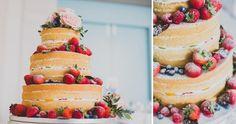 Wedding cake / naked cake cake: Naschwerk & Co. Fruit Display Wedding, Fruit Wedding Cake, Wedding Cakes With Cupcakes, Cupcake Cakes, Red Velvet Wedding Cake, Naked Cakes, Farm Cake, Wedding Appetizers, Wedding Cake Inspiration
