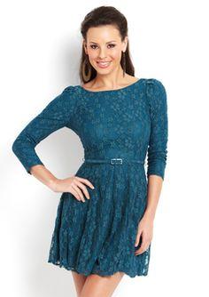 Ark & Co - Teal Long Sleeve Lace Dress
