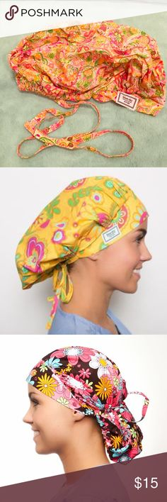 Blue Sky Scrubs Poppy Surgical Scrub Cap 😷 Blue Sky Scrubs Poppy Surgical Scrub Cap 😷, Yellow, Green, & Pink Paisley, super sweet!!. Can be worn as full bouffant or pulled back with attached ties. Two hats in one!  Excellent condition. *Model pictures are for cap style reference only.* Blue Sky Scrubs Other